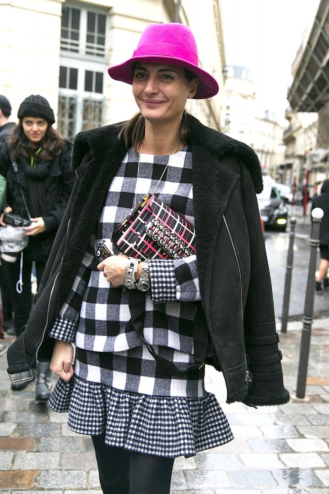Paris Street Style Feb. 27, 2014 RTW Fall Winter 2014 gingham check